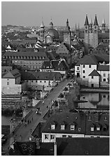 Alte Mainbrucke and Neumunsterkirche. Wurzburg, Bavaria, Germany (black and white)