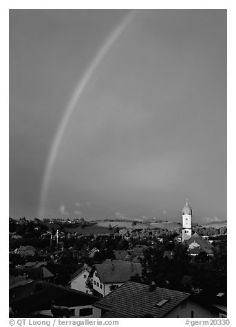 Rainbow over Nesselwang. Germany (black and white)