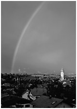 Rainbow over Nesselwang. Bavaria, Germany (black and white)