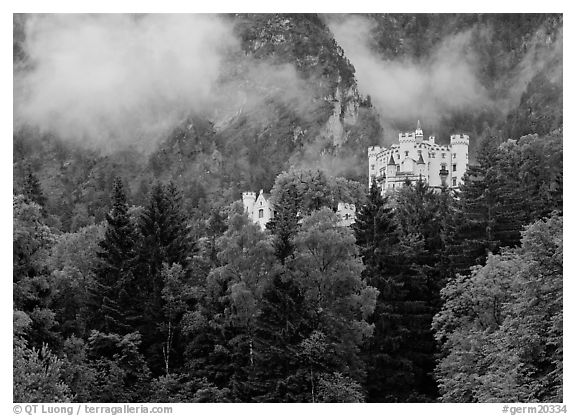 Hohenschwangau castle. Germany (black and white)
