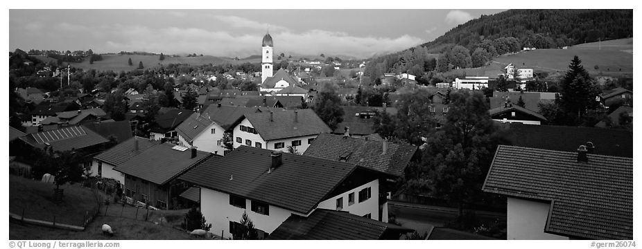 Nesselwang Village. Bavaria, Germany (black and white)