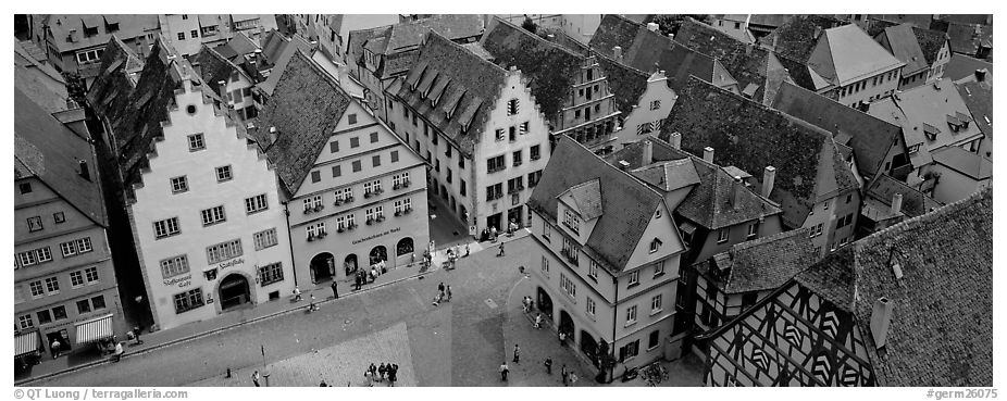 Medieval town of Rothenburg. Rothenburg ob der Tauber, Bavaria, Germany (black and white)