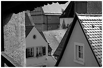 Rooftops seen from the Ramparts. Rothenburg ob der Tauber, Bavaria, Germany (black and white)