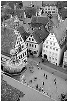 Marktplatz seen from the Rathaus tower. Rothenburg ob der Tauber, Bavaria, Germany (black and white)