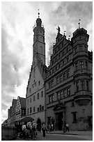 Rathaus. Rothenburg ob der Tauber, Bavaria, Germany (black and white)