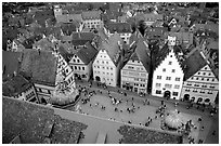 Marktplatz seen from the Rathaus tower. Rothenburg ob der Tauber, Bavaria, Germany ( black and white)