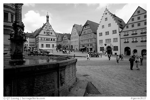 Fountain on Marktplatz. Rothenburg ob der Tauber, Bavaria, Germany