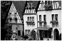 Row of colorful houses. Rothenburg ob der Tauber, Bavaria, Germany ( black and white)