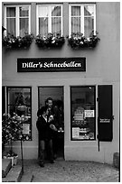 Pastry store specializing Schneeballen, a local specialty. Rothenburg ob der Tauber, Bavaria, Germany (black and white)