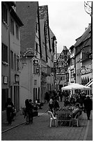 Lively street. Rothenburg ob der Tauber, Bavaria, Germany ( black and white)