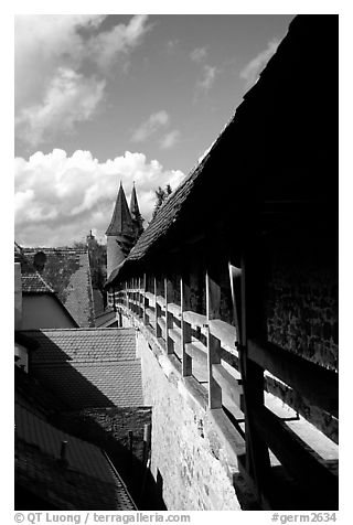 The well preserved ramparts. Rothenburg ob der Tauber, Bavaria, Germany (black and white)