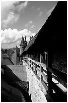 The well preserved ramparts. Rothenburg ob der Tauber, Bavaria, Germany ( black and white)
