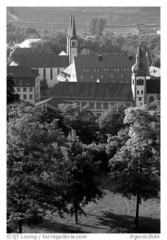 View from Festung Marienberg (citadel). Wurzburg, Bavaria, Germany (black and white)