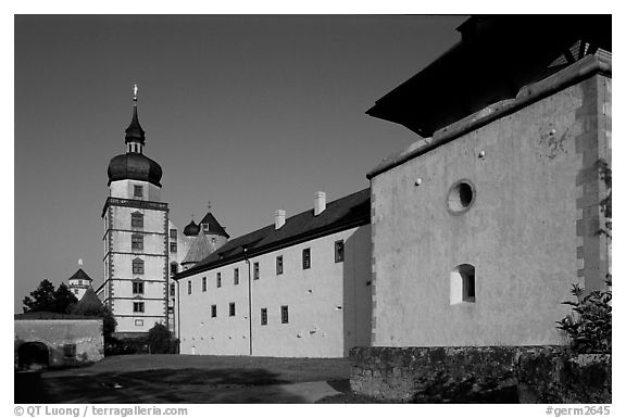 Marienkapelle (Church of Marie) and Festung Marienberg (citadel). Wurzburg, Bavaria, Germany (black and white)