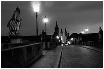 Alte Mainbrucke (bridge) at night. Wurzburg, Bavaria, Germany (black and white)