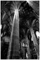 Interior of Sankt Lozenz Kirche. Nurnberg, Bavaria, Germany (black and white)