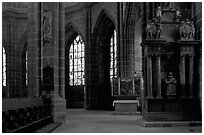 Interior of Sankt Lozenz Kirche. Nurnberg, Bavaria, Germany ( black and white)