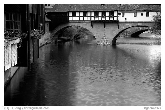 Timbered houses built accross the river. Nurnberg, Bavaria, Germany (black and white)