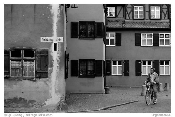 Biker,   Dinkelsbuhl. Bavaria, Germany (black and white)