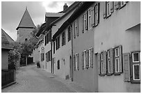 Row of houses,  Dinkelsbuhl. Bavaria, Germany (black and white)