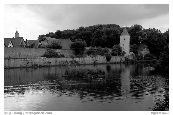 Duck pond and rampart walls, Dinkelsbuhl. Bavaria, Germany (black and white)