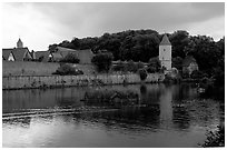 Duck pond and rampart walls, Dinkelsbuhl. Bavaria, Germany ( black and white)