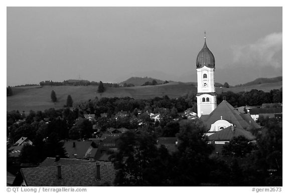 Nesselwang and St Andreas church. Bavaria, Germany (black and white)