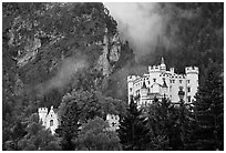 Hohenschwangau, built in 1832 for Maximillien II, King Ludwig's father. Bavaria, Germany (black and white)