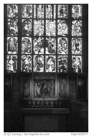 Painting and stained glass. Nurnberg, Bavaria, Germany (black and white)
