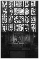 Painting and stained glass. Nurnberg, Bavaria, Germany ( black and white)