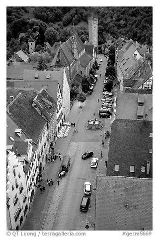 House rooftops and Street seen from the Rathaus tower. Rothenburg ob der Tauber, Bavaria, Germany (black and white)