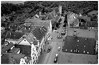 House rooftops and Street seen from the Rathaus tower. Rothenburg ob der Tauber, Bavaria, Germany ( black and white)