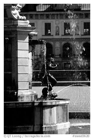 Fountain in royal residence of Drottningholm. Sweden (black and white)