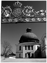 Entrance gate, royal residence of Drottningholm. Sweden (black and white)
