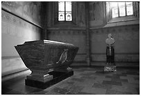Tomb and bust, royal residence of Drottningholm. Sweden ( black and white)