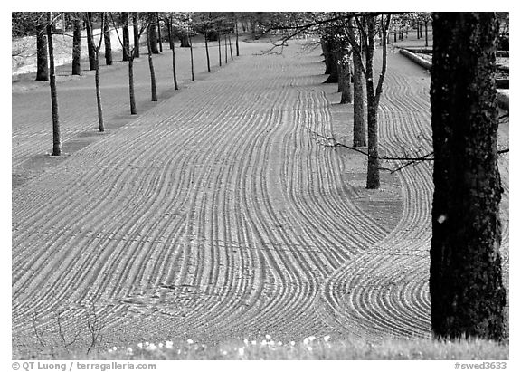 Raked sand in the garden of the 12th century church in Gamla Uppsala. Uppland, Sweden (black and white)