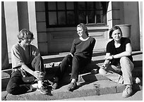 Students at the university of Uppsala. Uppland, Sweden (black and white)