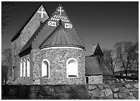 12th century Church of Gamla Uppsala. Uppland, Sweden (black and white)
