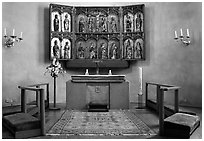 Interior of 12th century Church of Gamla Uppsala. Uppland, Sweden (black and white)