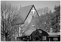 12th century Church of Gamla Uppsala. Uppland, Sweden ( black and white)
