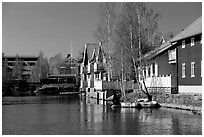 Riverside houses in Fallun. Central Sweden (black and white)