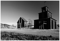 Mining buildings in Falun. Central Sweden (black and white)