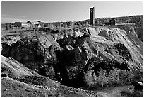 Copper mine pit Falu Koppargruva. Central Sweden (black and white)