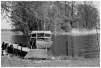 Boat on lakeshore. Central Sweden (black and white)