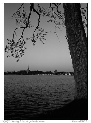 Vattern Lake and Vadstena. Gotaland, Sweden (black and white)