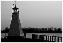 Lighthouse on Vattern Lake, Vadstena. Gotaland, Sweden (black and white)