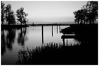 Vattern Lake at sunset, Vadstena. Gotaland, Sweden (black and white)