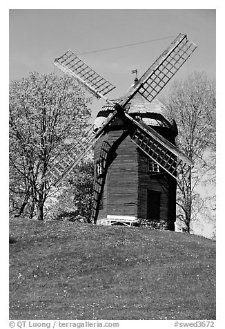Windmill. Gotaland, Sweden (black and white)