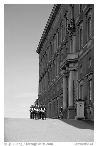 Royal Palace and Royal Guard. Stockholm, Sweden (black and white)