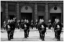 Royal Guard in front of the Royal Palace. Stockholm, Sweden ( black and white)